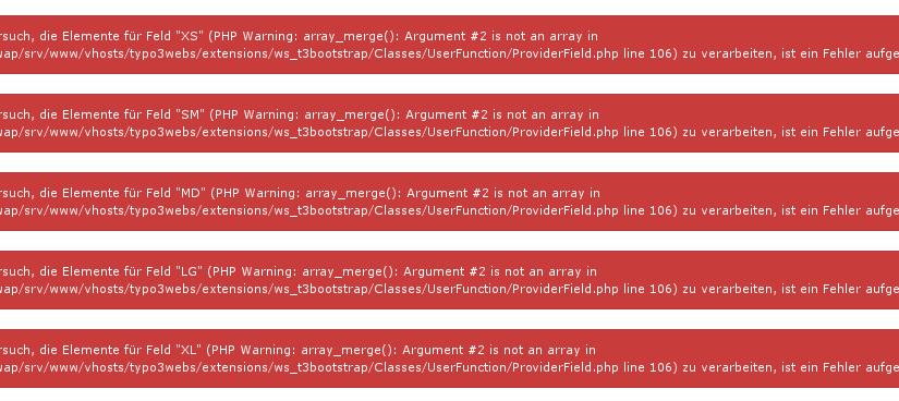 Beim Anlegen von neuen Elemente erscheinen Fehlermeldungen (ab TYPO3 7.6.11)